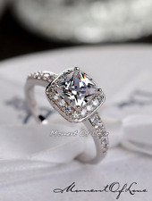 Super Sparkling Square Silver Micro-inlay 2.0 Cts Cubic Zirconia Adjustable Ring