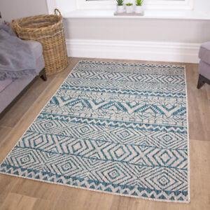 Moroccan Blue Geometric Flatweave Rug Easy Clean Pet Friendly Indoor Outdoor Rug