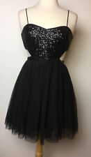 Forever 21 Sexy Black Sequin Cut Out Tulle Dress Adjustable Spaghetti Strap Sz M