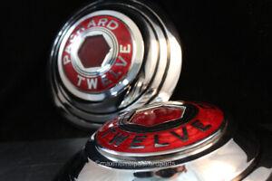 1933-36 Packard V12 Hub Caps w/ Cloisenne Centers! - PAIR! NICE!