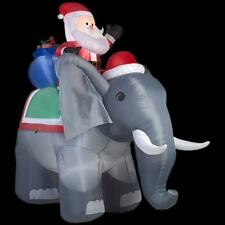 CHRISTMAS SANTA RIDING ELEPHANT TOY BAG 10.5  FT INFLATABLE AIRBLOWN YARD DECOR