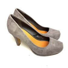 Fiore Womens Heels Faux Suede Grey Square Toe UK Size 3