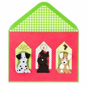 Papyrus Christmas Card:  3 Felt Dogs Puppies Doggies in Little Doghouses - FUZZY