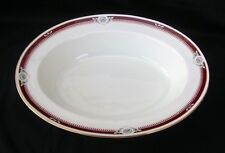 """Vintage AYNSLEY SOUTH PACIFIC Red/Maroon Bone China 10 1/2"""" Oval Vegetable Bowl"""