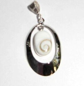 Shiva Muschel Anhänger oval Meeresauge Naturschmuck 925 Sterling Silber Neu