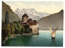 Chillon Castle And Dent Du Midi I Geneva Lake A4 Photo Print