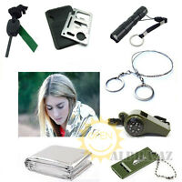 7 in 1 Emergency Survival Blanket Whistle Fire Starter Knife Torch Wire Saw