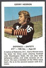 1971 CHEVRON TOUCHDOWN CARDS CFL FOOTBALL B C LIONS GERRY HERRON WASHINGTON STAT