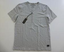 Buffalo David Bitton Shirt Mens Small Light Grey Terry Slub Henley Shirt New