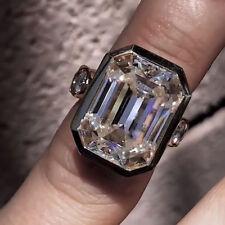 4.18 Ct Bezel Off White Emerald Moissanite 925 Sterling Silver Engagement Ring