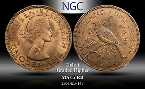 1964 NEWZEALAND PENNY NGC MS 65 RB ONLY 1 GRADED HIGHER #B