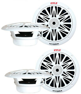 "4) NEW PYLE PLMR82 8"" 600W 2-Way Waterproof Marine/Boat Speakers White 2 PAIRS"