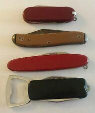 LOT OF 4 VINTAGE FOLDING POCKET KNIVES Double Blade Knives BOTTLE OPENER Fork
