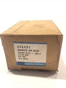 "K3A431 ITT General Controls Magnetic Gas Valve, 1/2 PSI, 3/8"" NPT 24 V. 60 CY."