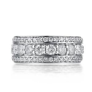 Solid 18K White Gold 3.1ct Genuine Moissanite Generous Luxurious Unisex Ring