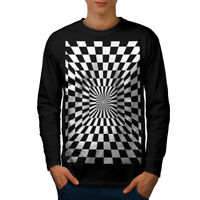 Wellcoda Square Illusion Pattern Mens Long Sleeve T-shirt, Trick Graphic Design