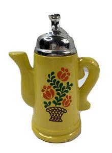 Vintage Avon Koffee Klatch Empty Decorative Coffee Pot Collectible 1970 Yellow