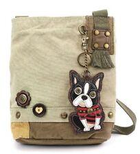 Chala Purse Handbag Canvas Crossbody with Key Chain Tote Bag Boston Terrier Dog