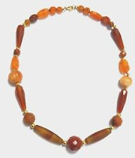 Carnelian,  Antique Agate and 18 k Gold Wax bead Necklace