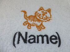 HOODED TOWEL embroidered with a TOM CAT design and Personalised Name 0-5 year