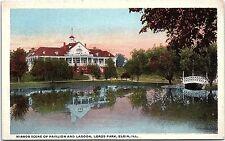 Postcard IL Elgin ~ Lords Park ~ Mirror Scene Of Pavilion And Lagoon E16