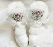 Womens Real Fur Rhinestone Casual Mid Calf Boots Fashion Winter Casual Shoes