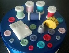Edible Handmade sewing needlecraft full cake decoration set / Topper
