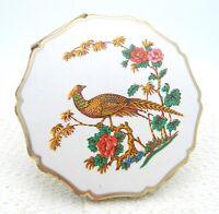VTG Stratton White Floral Pheasant Enamel Scalloped Makeup Compact Made England