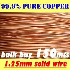 150mts BULK SOLID BRIGHT COPPER  WIRE, 1.25mm, 16G AWG for PLATING,  JEWELLERY