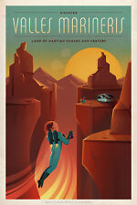 """Travel Poster Discover Valles Mariners Land of Martian Chasms and Craters 11""""x16"""