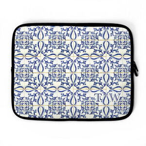 Spanish Tile Monogram Personalized Laptop Sleeve, Barcelona laptop case, custom