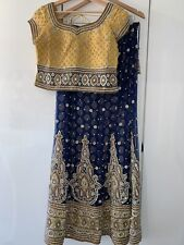 Indian Lengha Yellow & Navy Embroided Size 10-12