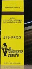 Vintage Matchbook Cover Y7 Windsor Heights Iowa Ebenezer Frog Dapper Top Hat