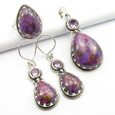 Free FAST Shipping 925 Silver TURQUOISE & AMETHYST Pendant Earrings Ring Sz 7.25