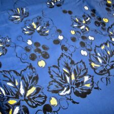 250cm x 92cm Vintage Rayon 1940s 1950s Novelty Flocked Border Print Blue Leaf