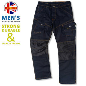 Mens Cordura Denim Work Jeans Multi Pockets Cargo Working Trousers Safety Pants