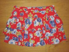 """Girls Johnnie b BODEN Teen Floral Frill Skirt Red Rose Print Large Waist 32""""-34"""