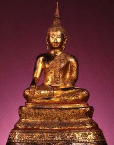 "BUDDHA:Antique Sukhothai Bhumisparsamudra,Thailand, 1800s, Gilded Bronze,15""Tall"