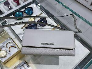 NWT Michael kors Jet Set Travel Large Wallet Chain Leather Crossbody Aluminum