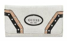 NEW GUESS WHITE GULFPORT SNAKE EMBOSSED SLIM CLUTCH WALLET