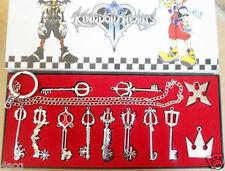 12pcs/ Kingdom Hearts II KEY BLADE Necklace Pendant+Keyblade+Keychain with chain