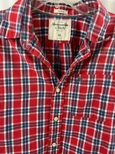 Abercrombie & Fitch Men's Muscle Long Sleeve Shirt Red Gray Plaid Size XL