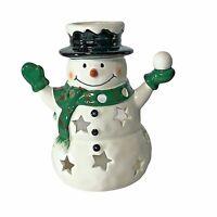 Tealight Votive illuminating Snowman Candle Holder with Snowball & Stars Ceramic