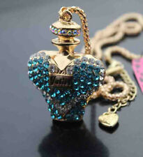 H539L   Betsey Johnson Crystal Perfume bottle Pendant Chain Necklaces