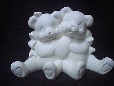 "C363 - Ceramic Bisque 4 1/2"" X 6 1/2"" Cuddle Bears with Heart Valentine -U Paint"