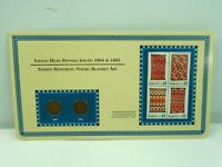 1894 & 1895 Indian Head Pennies with (4) Mint US .22 Cent Stamps On Display Card