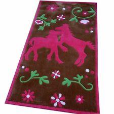 Tapis amateurs de chevaux 80x150 cm marron rose handtuft kinderpielteppich