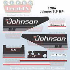 1986 Johnson 9.9 HP Outboard Reproduction 9 Piece Marine Vinyl Decal Sea-Horse
