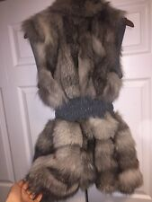 NWT GENUINE REAL FOX FUR LEATHER VEST, GRAY, SIZE SMALL MEDIUM