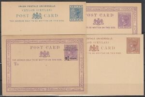 FD11054/ BRITISH CEYLON – POSTAL STATIONERY – H&G # 1 – 4 / 6 MINT
